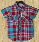 kids boy summer plaid woven shirt with embroidery